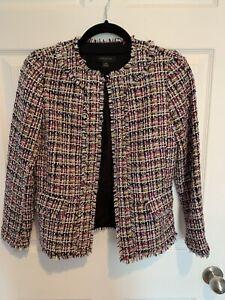 Ann Taylor Spring Tweed Blazer, Pink/Whit/purple/Mustard 00P