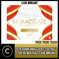 2019 PANINI IMMACULATE FOOTBALL 6 BOX (FULL CASE) BREAK #F459 - PICK YOUR TEAM