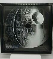 Artissimo Star Wars DEATH STAR 16x16 shadow box Silver Outline on black RARE