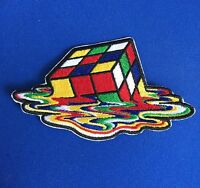 Melting Rubics Cube Retro 80's Game Iron On Patch / Motif Costume FREE SHIPPING