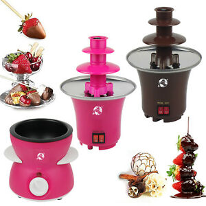 3 Tier S/S Steel Electric Chocolate Warmer Dip Fountain Party Fondue Melting Pot