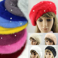 Fashion Women Winter Warm Rabbit Fur Snow Beanie SKI Hat Cap Beret Angora Pearl