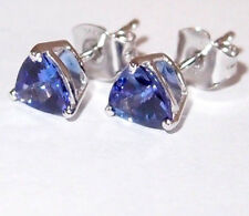 Pair of AA Tanzanite earrings/studs (trillion), in 14K White Gold, total 1.50ct.