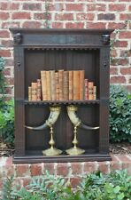 Antique English Oak Renaissance Revival Plate Rack Wall Shelf Display Bookcase