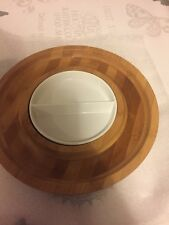 SALA da pranzo Round Wood & Seramic PIASTRA moderno che servono Dish Cibo Snack Vassoio Insalata
