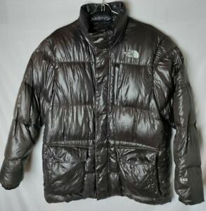The North Face Men M Brown Goose Down 600 Front Pockets Collard Jacket Coat