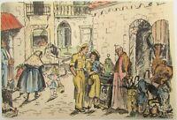 Gabriella Rosenthal Old Jerusalem Lithograph Israeli Artist Signed in Plate גר