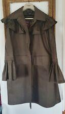 Burberry Prorsum Olive Green Flared Pleated Mac Trench Jacket Coat Size Uk 8