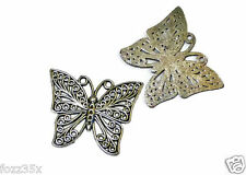 3 Antique Silver Butterfly CHARMS-GROS FILIGRANE Papillons-LF NF - 39 mm