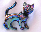 SAMMLER BROSCHE KATZE / Vintage Iridescent Black Cat animal Pin Brooch