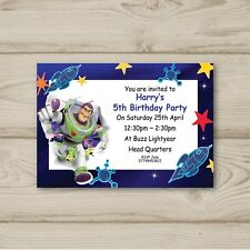 10 Personalised Buzz Lightyear Children Birthday party invitations Toy Story