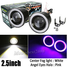 Universal 2.5INCH Led Fog Light Projector COB w/ Pink Angel Eyes Halo Ring 12V