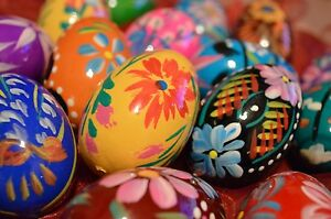 Hand-painted wooden Easter Eggs Egg Decorations no plastic Set 10 eggs