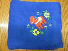 Dala Horse Floral Design on Royal Fleece Blanket