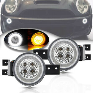 LED Halo DRL Turn Signal Light Assy for 02-06 Mini Cooper R50 R53 R52 Clear Lens