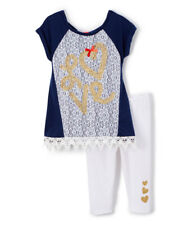 NWT Nannette Baby Girls Gold Love Lace Blue Tunic Leggings Outfit 24 Months