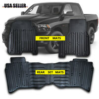 All Weather Protection Rubber Floor Mats fits 2009-2018 Dodge Ram Truck Crew Cab