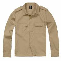 Brandit Combat Military Army Style Long Sleeve Durable Work Shirt Beige