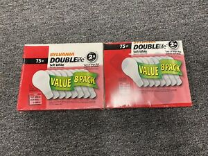 (2) Sylvania 75W 120V Incandescent Light bulb Double Life A19 8 Pack Soft White