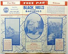 1954 Black Hills Badlands South Dakota brochure with route and road maps b