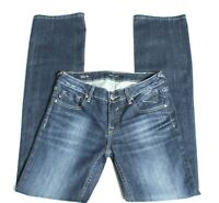 Women's Vigoss Studio Boot Cut Jeans Blue Stretch Distressed Size 27 Inseam 33½