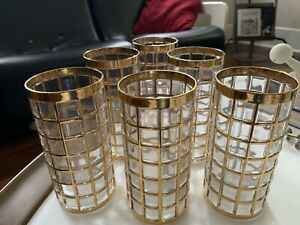 SET 6 IMPERIAL GLASS Troil De Oro Gold Square Design Tumblers HOLLYWOOD REGENCY