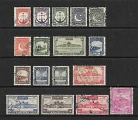 1948 King George VI SG24 to SG41 Set of 17 Stamps Fine Used PAKISTAN