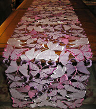 "Butterfly Garden Purple Lacy Cut work Table Runner Easter & Spring Decor 66""x12"""