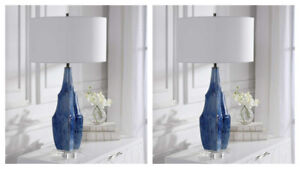 "PAIR OF EVERARD MODERN 33"" INDIGO BLUE GLAZE CERAMIC TABLE LAMP UTTERMOST 28425"