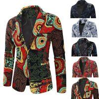 Mens Vintage Ethnic Printed Dress Floral Casual Suit Slim Fit Blazer Coat Jacket