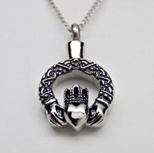 CLADDAGH CREMATION URN  IRISH CELTIC NECKLACE CREMATION JEWELRY MEMORIAL