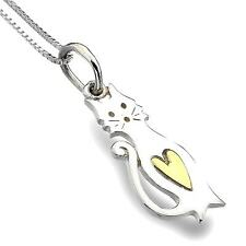 Pure Origins Sterling Silver 925 Cat Brass Heart Pendant Necklace P2831