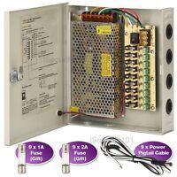 9 CH Way DC 12V 15A CCTV Camera 9 Port Power Supply Distribution Box Lock Case