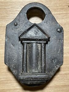 Rare Antique Large Iron European Trick Lock German Padlock Castle Shape 1700s
