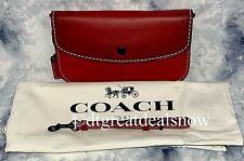 NEW Coach 1941 Clutch Wristlet Glovetanned Leather RED W/ Gunmetal 58818