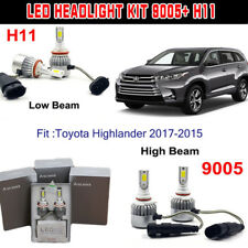H11+9005 HB3 144W LED Headlight Kit Light Bulb For Toyota Highlander 2017-2015