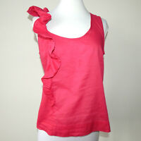 Fei Anthropologie Fresh Watermelon Pink Scalloped Ruffle Tank Top - 4