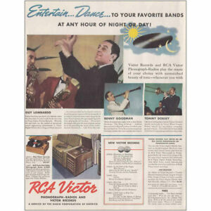 1937 RCA Victor: Entertain Dance, Guy Lombardo, Benny Vintage Print Ad