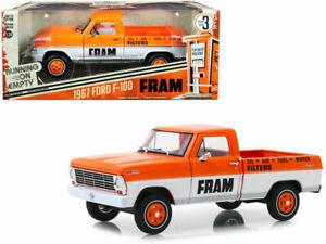 "1967 FORD F-100 PICKUP TRUCK ""FRAM"" ORANGE 1/24 DIECAST CAR BY GREENLIGHT 85042"