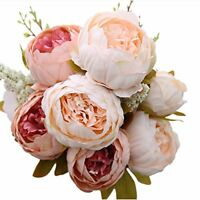 Flowers Bouquet Vintage Wedding Party Decor Home Artificial Peony Silk Realistic