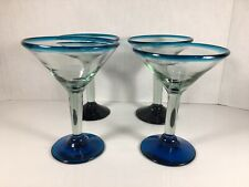 Set Of 4 Tall Mexican Hand-blown Glass Martini Glass Blue Rim and Base