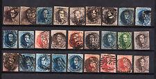 Belgique lot de 27 timbres  oblitérés entre 1849 et 1861 cote plus de 1000 euro