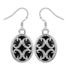 Damen Ohrring oval schwarz Ohrstecker Ohrringe pl. mit Sterlingsilber DO605 T::A