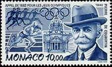 "MONACO N° 1853 "" PIERRE DE COUBERTIN ATHLETES ANNEAUX OLYMPIQUES "" NEUF xx LUXE"