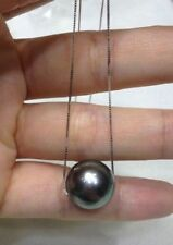 HOT AAA 11-12  mm round south sea natural black pearl pendant necklace 18''