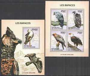IC12 2014 IVORY COAST AFRICAN FAUNA BIRDS OF PREY RAPTORS #1554-7+BL198 MNH