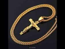18kt Gold Plated Cross Crucifix Necklace and Chain for Men and Women