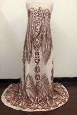 SEQUINED FABRIC by the YARD! NUDE STRETCH MESH with CHAMPAGNE BLUSH SEQUINS