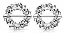 1 Pair Silver Plated Swirling Leaves Nipple Rings Shields Barbells Body Jewelry