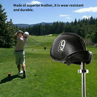 12 PCS Thick PU Leather Head Covers Golf Iron Club Putter Black Headcovers Set T